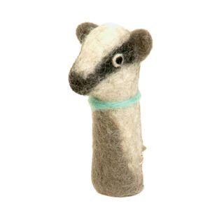 Filz-Fingerpuppe Dachs kaufen München, Handgemachte Fingerpuppen aus Filz, Felt, handmade glove puppet badger made of felt, natürliches Kinder-Spielzeug aus Filz, Filz-Finger-Puppe Dachs, Filz-Tier, Filz-arbeit, Filzfingerpuppe Dachs