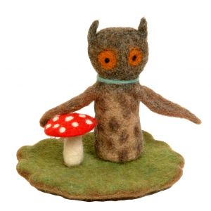 Filz-Fingerpuppe Eule kaufen München, Handgemachte Fingerpuppen aus Filz, Felt, handmade glove puppet owl made of felt, natürliches Kinder-Spielzeug aus Filz, Filz-Finger-Puppe Eule, Filz-Tier, Filz-arbeit, Filzfingerpuppe Eule mit Landschaft
