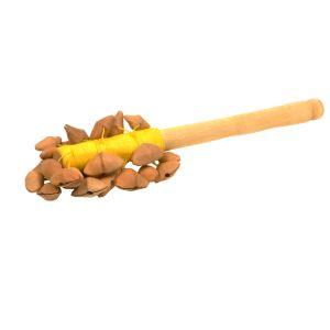 Nutshaker Sonne kaufen München, Nut-Shaker kaufen Bayern, Nuß-Rassel, Seelenwanderer, Nuss-Schüttler, Nuß-Rassler, Nuss-Rassel, Rassel aus Nuss-Schalen kaufen - Nutshaker Sonnne mit gelbem Garn
