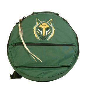 Rahmentrommel-Rucksack Deluxe dunkelgrün, wolf - 49 cm kaufen München, Rahmentrommel-Tasche kaufen Bayern, buy backpack drum case for 18