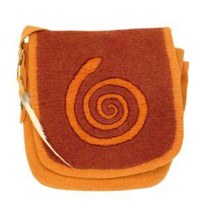 Rahmentrommel-Tasche Filz orange-rot, 48cm kaufen München, Filz-Rahmentrommel-Tasche, Große gefilzte Rahmentrommel-Tasche, Schamanentrommel-Tasche Filz kaufen, Filz-Trommel-Tasche, Rahmentrommel-Filztasche orange-rot, 48 cm - Front